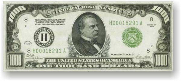 $1,000 US currency