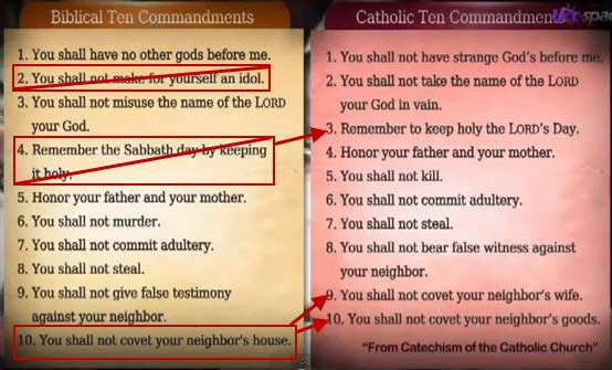 Bible Ten Commandments vs  Roman Catholic Ten Commandments